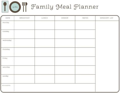 family dinner menu template weekly family meal planner meal planning