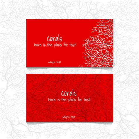 red coral decor stock images image 4448644 coral red design horizontal business card stock vector