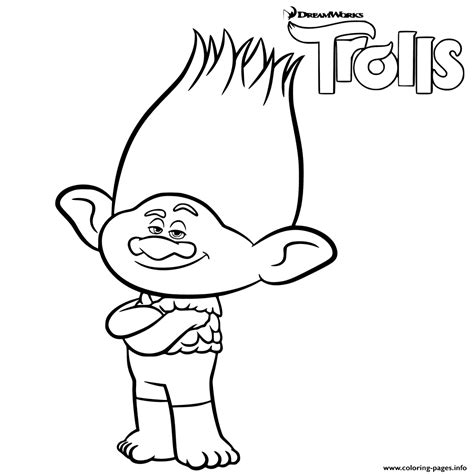 Branch Coloring Page branch trolls coloring pages printable