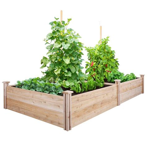 garden socks raised beds greenes fence 4 ft x 8 ft x 14 in cedar raised garden bed rc12s28b the home depot