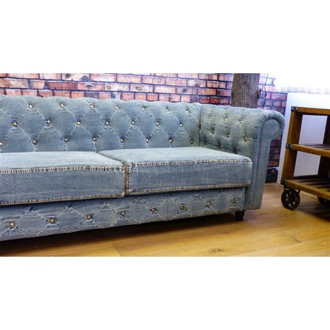 denim chesterfield sofa blue denim chesterfield sofas blue vintage couch made