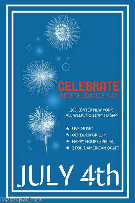 4th of july templates 4th of july poster template postermywall