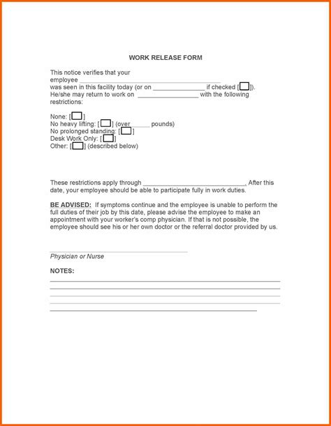Release Letter From Doctor 9 10 work release from doctor formsresume