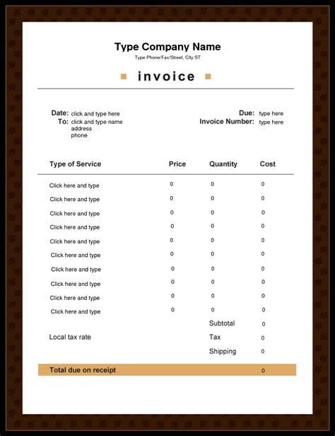 editable printable best photos of editable invoice template word free