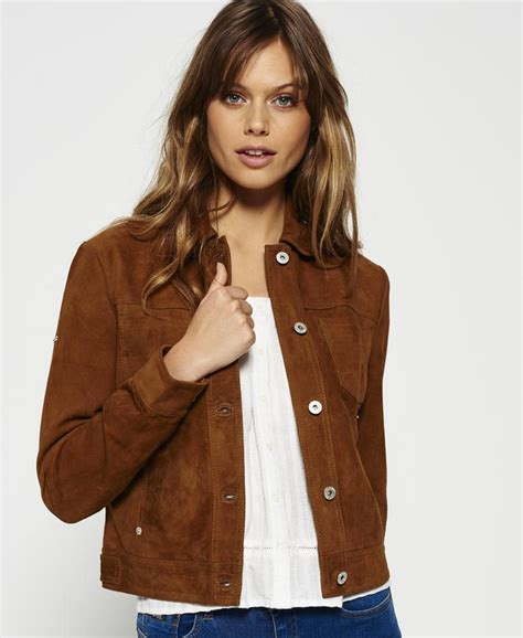 Superdry Suede Bomber Jacket superdry suede billie bomber jacket in brown lyst