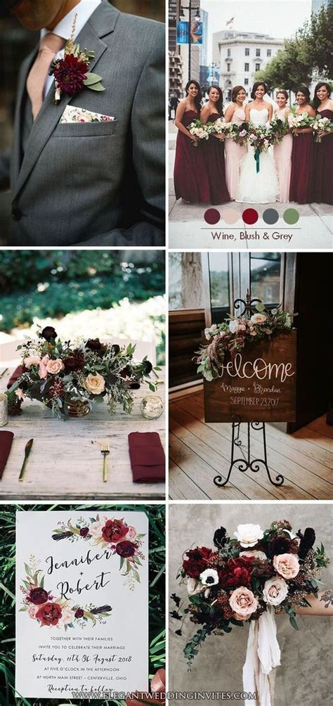 Moody Burgundy Wine,Blush and Dark Grey Classic Wedding