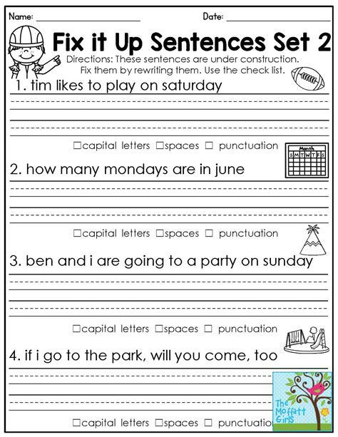 1st Grade Grammar Worksheets by Grammar Worksheets 1st Grade Geersc