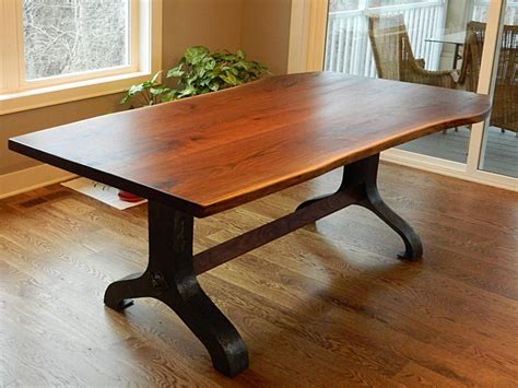 antique black walnut dining table crafted black walnut slab table with hammered