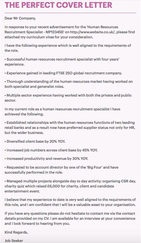 gallery of the perfect cover letter