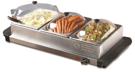 electric 3 tray buffet server stainless steel warmer food