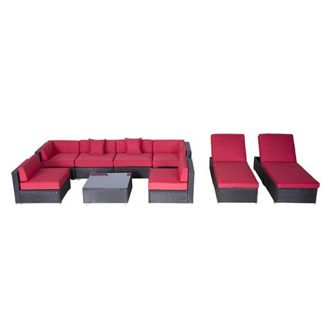 couch and chaise lounge set outsunny 9pc outdoor patio rattan wicker sofa sectional