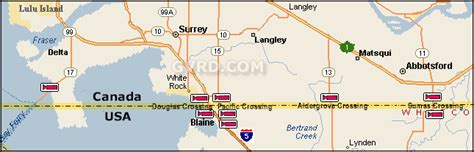 map of us and canada border crossings greater vancouver traffic