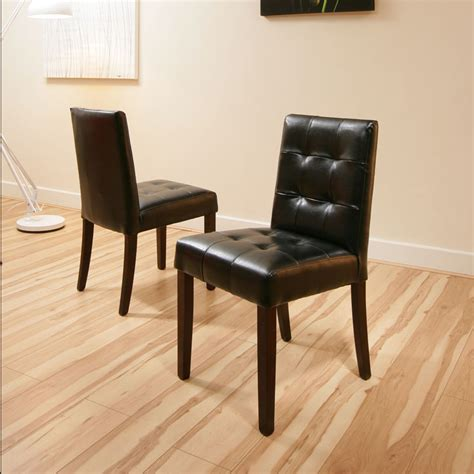 Low Back Leather Dining Chairs Dining Chairs Black Leather Low Back Set Of 2 Chester Ebay