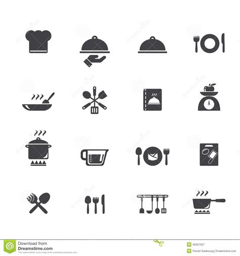 Kitchen Design Black by Cooking And Kitchen Icons Stock Vector Illustration Of