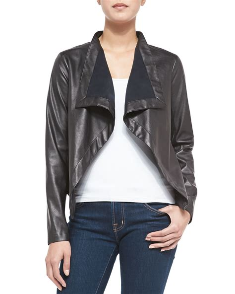 draped faux leather jacket cusp faux leather jacket w draped front in black open