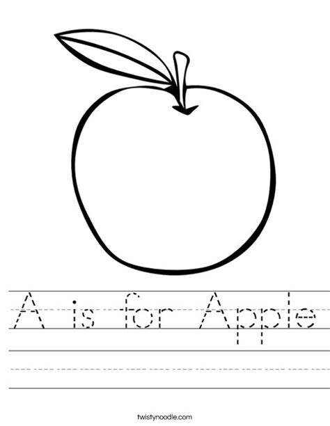 apple coloring page for pre k a is for apple worksheet twisty noodle