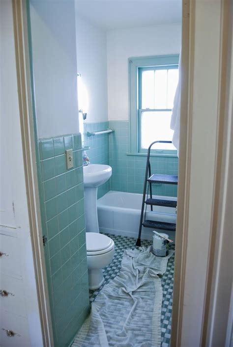 bathroom   overhaul fresh white paint  seafoam