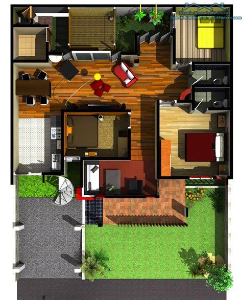 gambar visual sketsa rumah sederhana