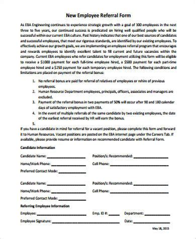 employee referral form template word sle employee referral form 10 exles in word pdf