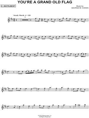 printable lyrics to you re a grand old flag george m cohan quot you re a grand old flag eb instrument