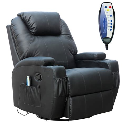 Foxhunter Black Bonded Leather Massage Cinema Recliner
