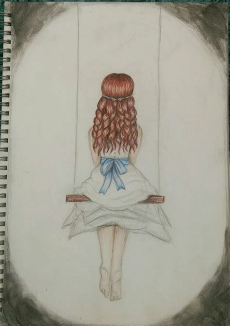 girl on a swing drawing lonely girl on swing drawing drawings people