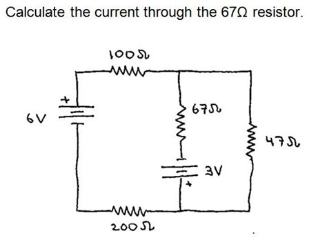 resistor and current calculator calculate the current through the 67 ohm resistor chegg