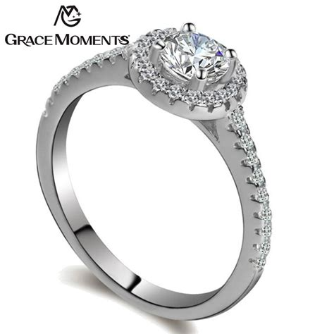 grace moments trendy white cz round shape crystal rings for women engagement wedding female