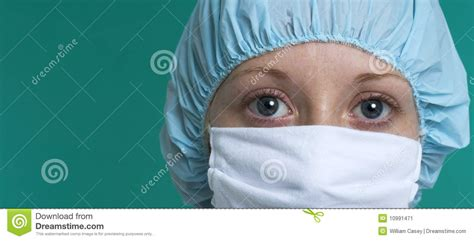 nurse wearing mask  surgical cap stock image image