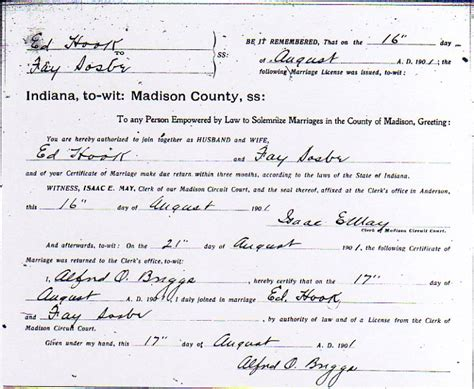 Cecil County Marriage Records Clarence Hook And Sosbe