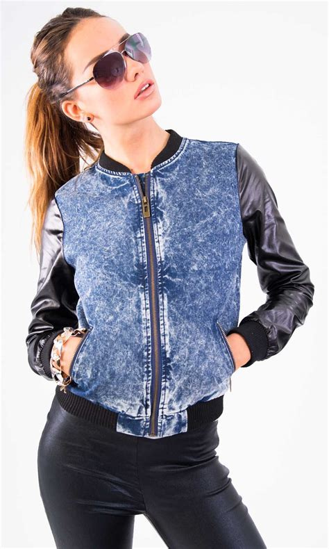 Bomber Sevendenim denim bomber jacket womens fit jacket