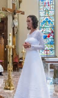 do nuns wear wedding dresses consecrated marries jesus in wedding ceremony in