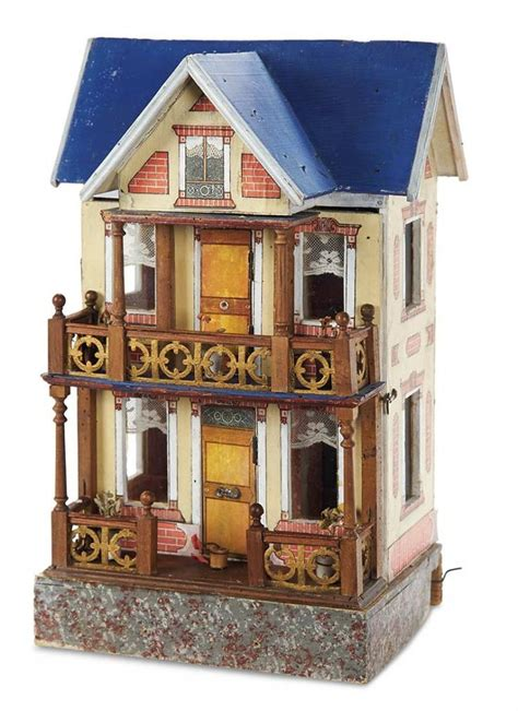 doll house with elevator german wooden blue roof doll house with elevator by moritz gottschalk 1100 1600