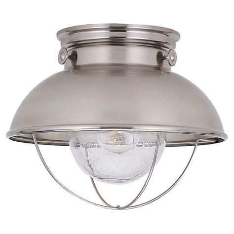 Exterior Ceiling Light Fixture Sea Gull Lighting Sebring 1 Light Brushed Stainless Outdoor Ceiling Fixture 8869 98 The Home Depot