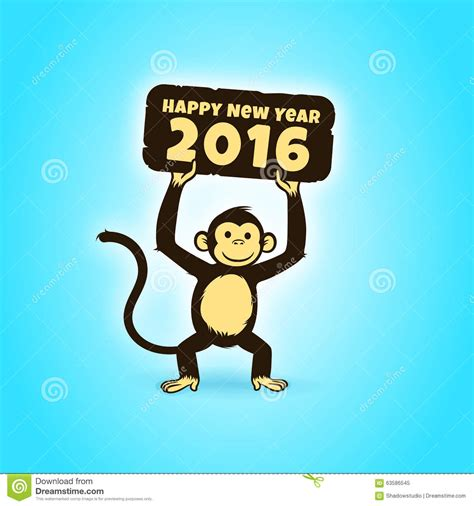 new year greeting message monkey happy monkey character holding a happy new year 2016