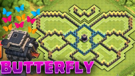 coc unique layout clash of clans butterfly townhall 9 farming base unique