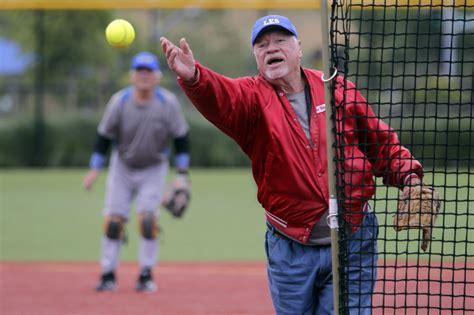 slow pitch softball homerun swing softball league a home run with seniors the san diego