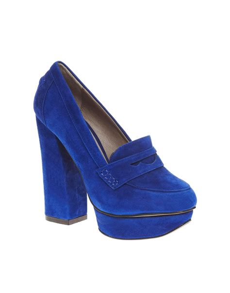 Punched Cut Out Platform Wedges At Asos by Lyst Asos Shellys Jurova Platform Blue Heeled