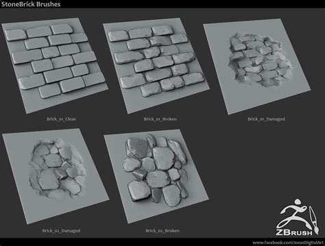 zbrush brick tutorial 18 zbrush sculpted rock brushes by jonas ronnegard