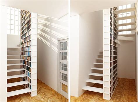 stylish bookshelf 9 stylish staircases with bookshelves as safety barriers