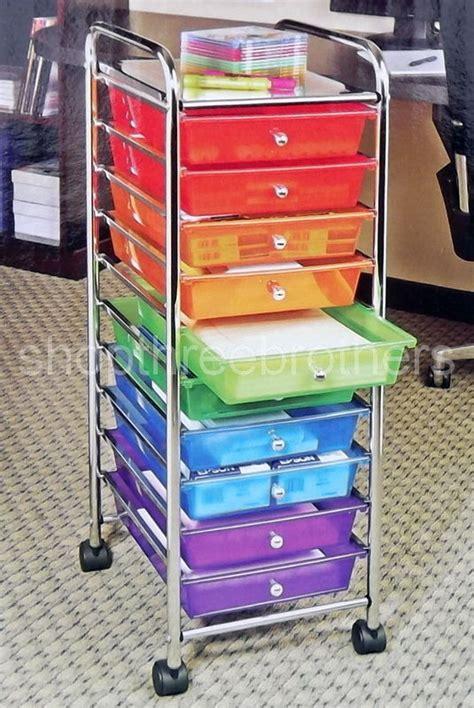 Scrapbook Paper Drawers by New 10 Multi Color Drawers Metal Rolling Cart Scrapbook