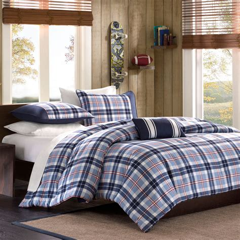 beautiful blue white grey red plaid boys cabin comforter