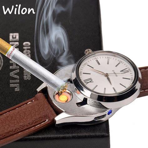 Jam Tangan Pria Korek Api Elektrik jam tangan kasual dengan korek elektrik usb black silver