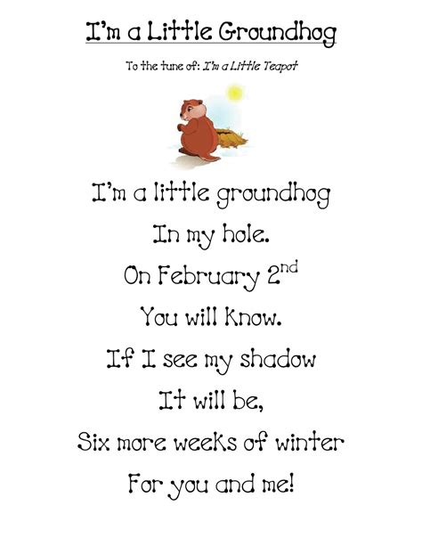 day songs free groundhog day learning easy and poem