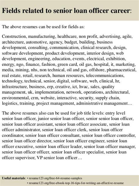 top 8 senior loan officer resume sles