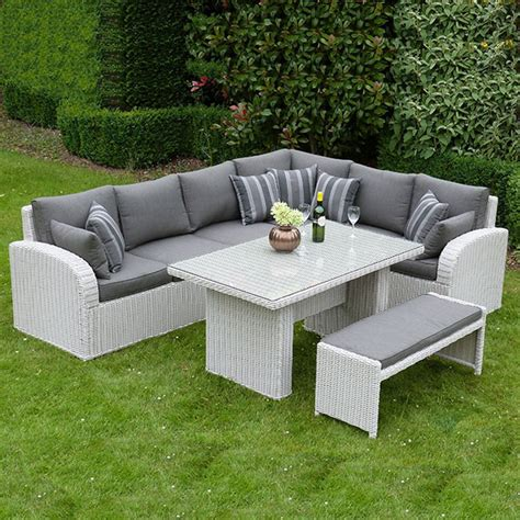 garden furniture bench set havana corner dining set bench pebble rattan outside