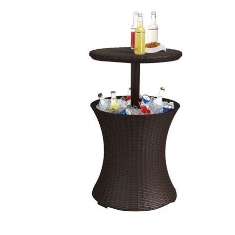 drink table bar keter cool bar 7 5 gal resin rattan drink cooler patio