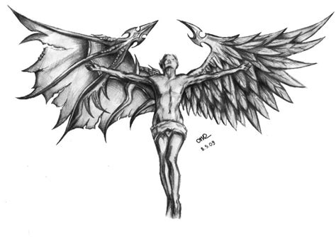 angel with different wings sketch best tattoo designs
