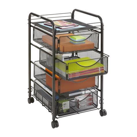 mesh drawer organizer cart 4 drawer onyx mesh file cart office organizer safco