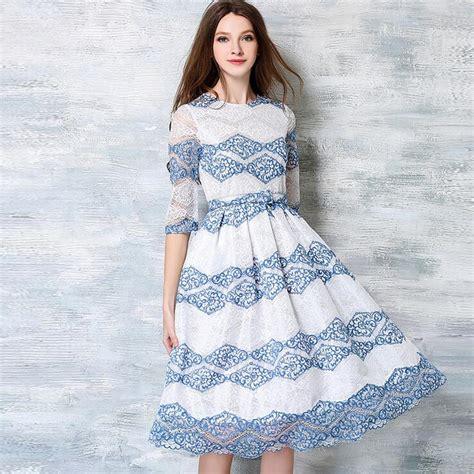 blue pattern lace dress fshion new 2017 summer elegant white lace vintage blue